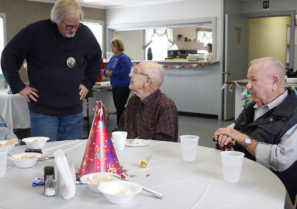Attendees celebrate Grant Wood's 125th birthday with a soup supper Saturday afternoon in Eldon's KD Center.