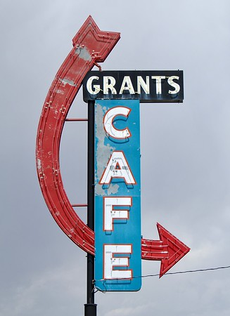 Restored Grants Cafe sign along Route 66 (2018)