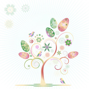 Colorful easter tree with eggs, birds and flowers. isolated on white background. Editable, can be used on invitations,cards etc. Vector and raster format available.