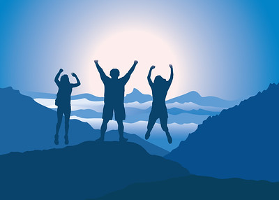 People with hands up jumping and having fun on the top of mountain. Vector illustration. Blue Ridge Mountains, North Carolina, USA.