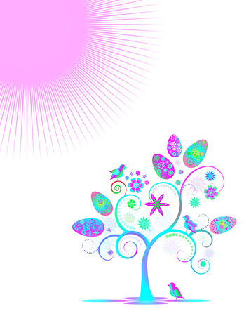 Colorful easter design  with eggs  and flower tree  isolated on pink background. Editable, can be used on invitations,cards etc. Vector and raster format available.