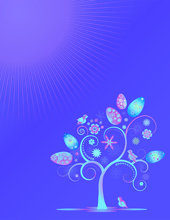 Colorful easter design  with eggs  and flower tree  isolated on blue background. Editable, can be used on invitations,cards etc. Vector and raster format available.