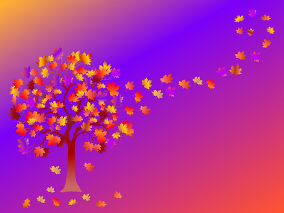 Fall background with colorful tree and  falling leaves on blue background.  Elegant design with copy space. Editable, can be used on brochures, posters etc. Vector and raster format available.