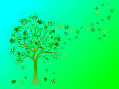 Spring background with colorful tree and  falling leaves on green background.  Elegant design with copy space. Editable, can be used on brochures, posters etc. Vector and raster format available.