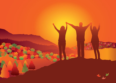 Family standing on top of the fall mountain holding raised hands. Autumn landscape. Vector illustration. Blue Ridge Mountains, North Carolina, USA.
