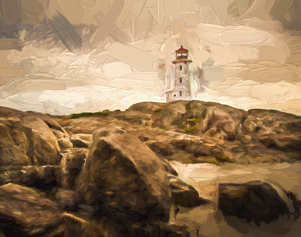 Peggy's Cove Lighthouse, before, after the storm