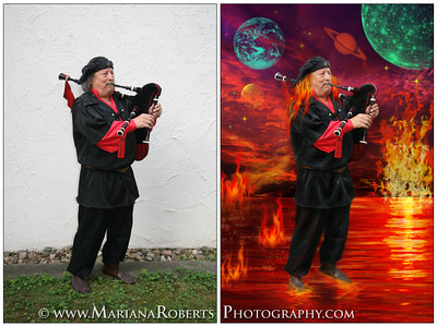 Artistic photography in Central New York, man in space, space photography, artistic music band photographer, space portraits, planets, cosmic photography, Geyers Minstrel Albert Dannenmann, fire photography, fire, water, sky, planets, smoke, man on fire, fire musician, burning flames music artist, bagpipe musician, musician on fire, creative band  photography, space and portrait photography, fire on the water, astronomy photography, outer space art, artistic photography by Mariana Roberts, walk on water, man standing on water, universe photography, galaxy photographic art, space portraits, cosmic art, space art,