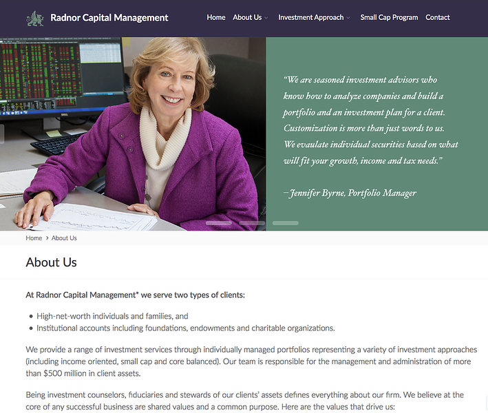 Webpage for financial planning firm