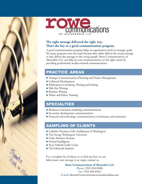 One-page promotional piece for a communications firm.