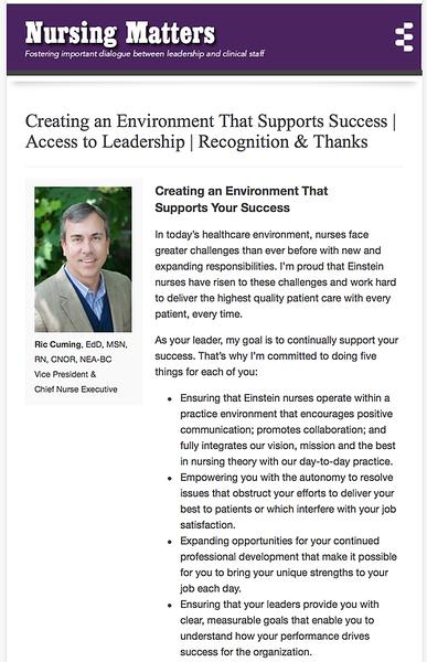 Designed banner and email newsletter for nursing staff at Einstein Healthcare Network