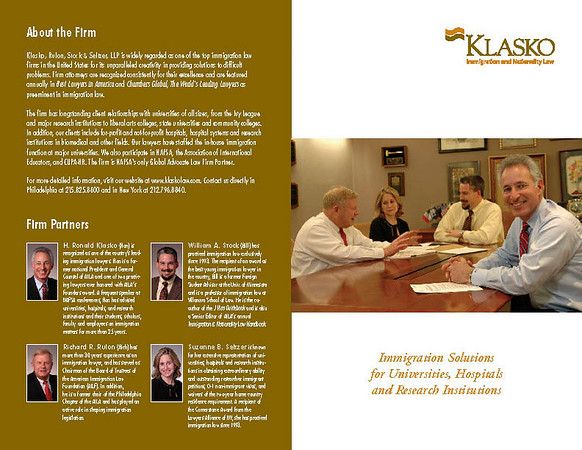 Brochure for immigration law firm.