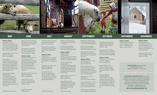 Hopewell Furnace Annual Program brochure, laid flat