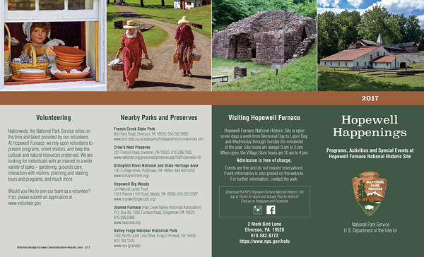 Hopewell Furnace Annual Program brochure, laid flat