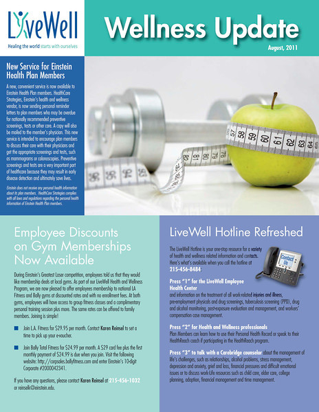 Examples of newsletters for Einstein Healthcare Network. I do the design for four different employee newsletters and have worked with them for more than 15 years.