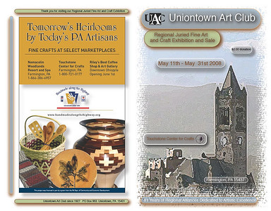 2008 Uniontown Arts Club held their show at Touchstone Center for Crafts and I created the catalog for the artwork that was being sold along with creating different company advertisements.