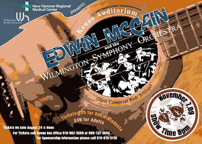 Chords for a Cause, Edwin McCain Concert. This was a show card created for the benefit concert by Edwin McCain and the Wilmington Symphony Orchestra at the Kenan Auditorium.  I was responsible for creating all promotional artwork for concert and marketing.