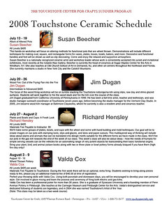 2008 Ceramic Class schedule of artist with bio and class information that was handed out at the 2008 National Council for Education of Ceramic Artists in Pittsburgh.
