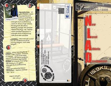 New Level Athletic Development is a start-up training facility that specializes in creating individual routines for specialized sports athletes.  Weights, metal, concrete and exercise were the inspirations. This is their brochure.