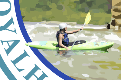 Closer detail of kayaker looking at bridge pier. Here you can see a reflection in the water of the boater.  Second Draft, Loyalhanna Water Trail Map Logo Working out compositional elements and concept with client. I favor overlapping elements in logo design.