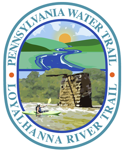 Third Draft, Loyalhanna Water Trail Map Logo Working out compositional elements and concept with client. Kayaker is a bit more stylized and simplified. Can go more simplified and stylized with art if desired.