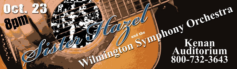 This is a roadside billboard that I created to promote Chords for a Cause, Sister Hazel concert. This was a benefit concert by Sister Hazel and the Wilmington Symphony Orchestra at the Kenan Auditorium.  I was responsible for creating all promotional artwork for concert and marketing.