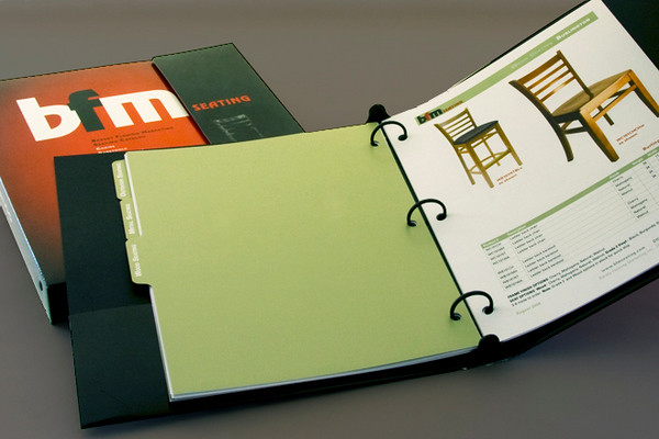 Loose leaf catalog for restaurant furniture sales. Design, production and product photography.