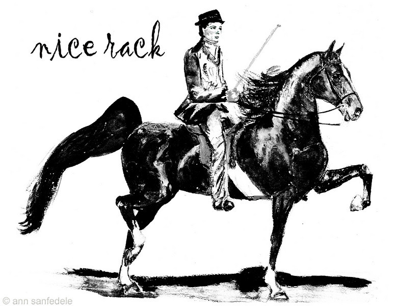 Another kind of nice rack - this is a black and white re-rendering of a watercolor I did as a teenager - but I added more detail in the face in photoshop from an old photo of me... the drawing was done from a photo of a famous show horse who I knew in person back in the 1950's - Wing Commander.  <p> http://www.cafepress.com/annsanstuff/3626285