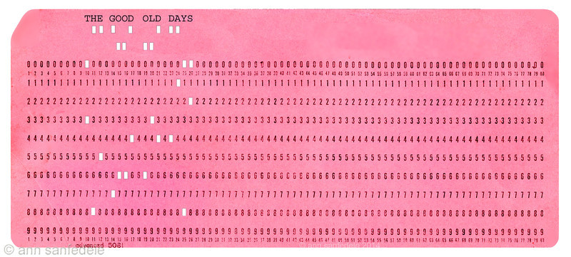 IBM punch card circa 1960 - this graphic for light t-shirts and other light objects - the white would only be white here if<br /> the thing it is printed on is white - otherwise the color of the light background would be picked up.