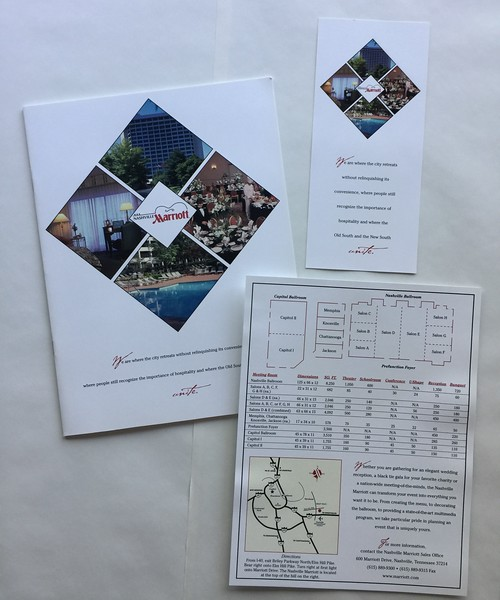 Nashville Airport Marriott Brochure, Rack Card, Information Sheet