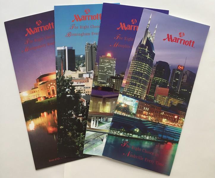 Marriott Brochures for Nashville, Memphis, Birmingham, Montgomery