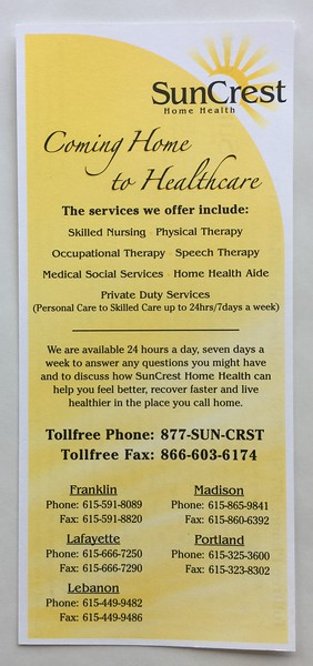 SunCrest Home Health Logo and Rack Card Front