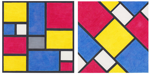 DeStijl / Piet Mondrian & Theo Van Doesburg (Handmade with paper and colored pencils)
