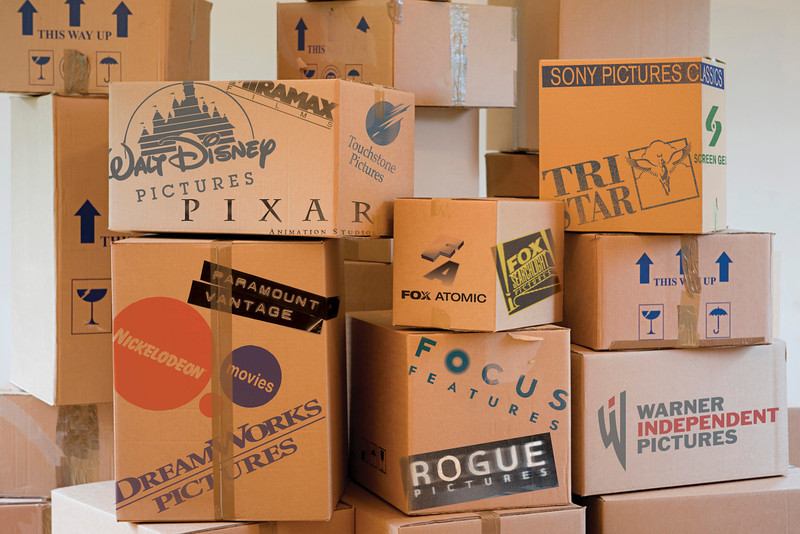Stack of cardboard boxes in a room