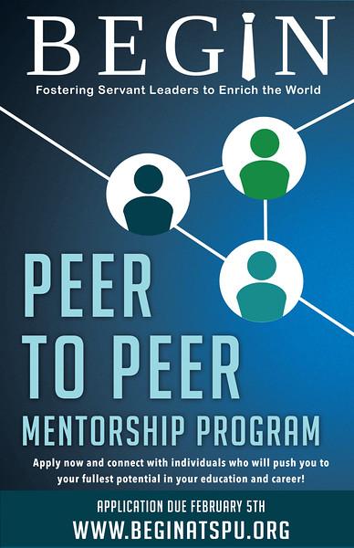 """SPU BEGIN Club """"Peer to Peer Mentorship Program"""" poster, 2016."""