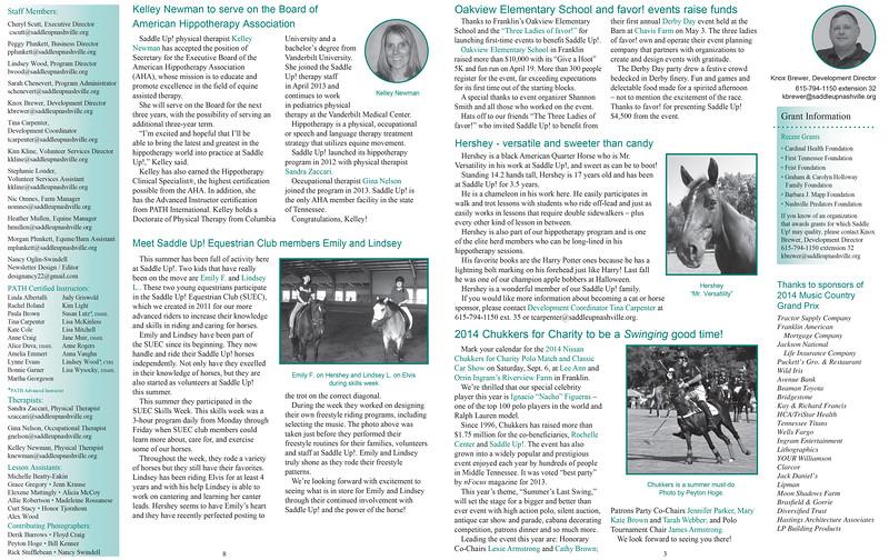 Saddle Up! Newsletter Spread