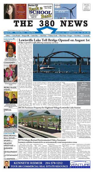 Front page of a 16 page monthly publication which I layout and design for 380Guide.com. I snapped the bridge photo for the front page story.