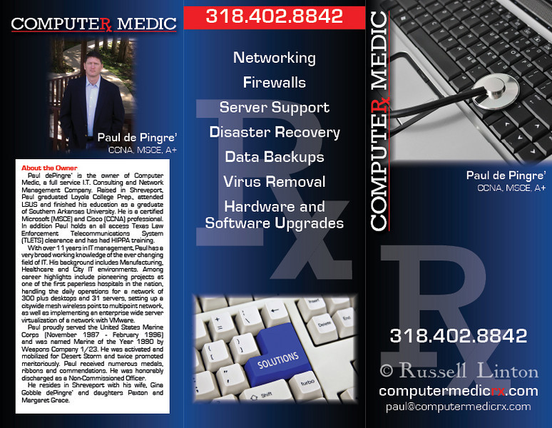 "The ""front"" side of a tri-fold brochure I designed for Computer MedicRX. Note the vertical lines on the fold areas - those are due to the low-res nature of this proof, they do not appear on the high res print.)"