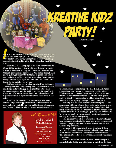 Page design for an article about Kreative Kidz, a local business, in the 380Guide print edition.
