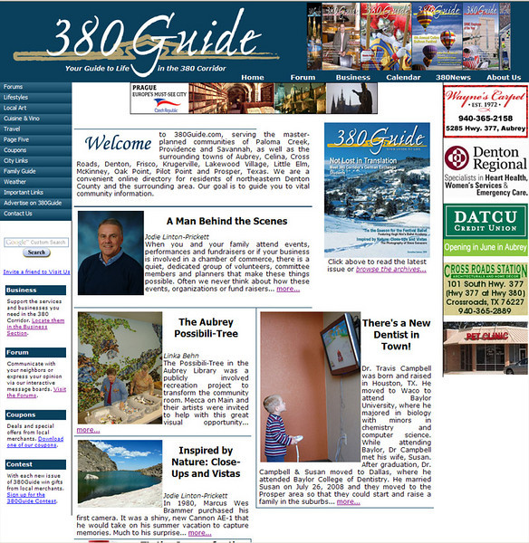 "The front page of  <a href=""http://www.380guide.com"">http://www.380guide.com</a>. I am the designer and webmaster for this project; I complete monthly updates and provided a full overhaul of the site when the project began."