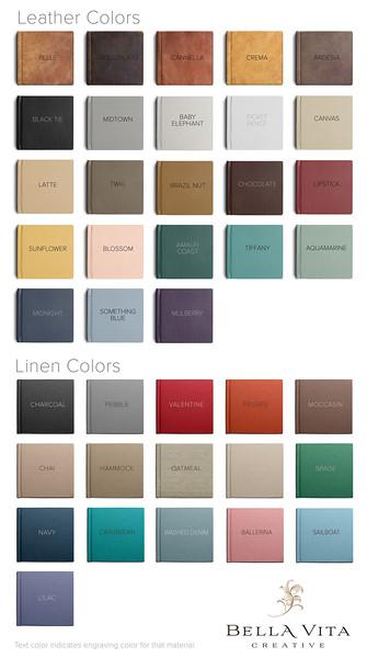 Leather & Linen Album Color Swatches