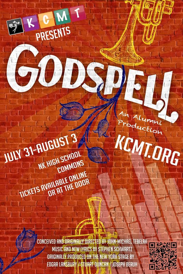 """Kitsap Children's Musical Theatre's """"Godspell"""" poster, 2014."""