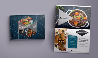 "Compass Group's presentation booklet for ""Les Nouveaux Artisans"", one of their main culinary offers"