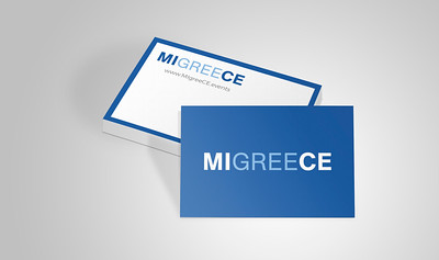 MiGreece events agency's logo design and business cards layout