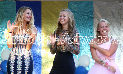 Vanessa Squier, Megan Hardy and Aspen Ellis, seen from left, sing and laugh during the 2016 Calhoun County Queen contest Wednesday. GRAPHIC-ADVOCATE PHOTO/ERIN SOMMERS