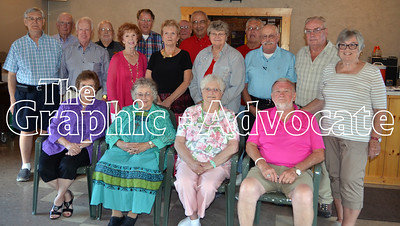 Members of the Rockwell City High School Class of 1956 gathered at Lynch's Saturday night for their 60h class reunion. Attending the reunion (and not necessarily pictured) were Georgeane Schumann, Marjorie Kast, Ed Ludwig, Sharon Peck, Dennis Anderson, Lanny Fouts, Jo Ann Hendricks, Carol Parmen, Jeanette Robinson, Chuck Boyd, Don Lory, Terry Pearson, Richard Santee, Dale Scheidegger, Harlan Stoolman, Jack Wollenzien, Marilyn Westphal, Jerry Yoder, Garry Williamson and Neil Koeppen. GRAPHIC-ADVOCATE PHOTO/ERIN SOMMERS
