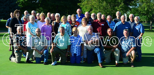 The Rockwell City High School class of 1966 met Saturday at the Twin Lakes Golf Course for their 50th class reunion. Pictured in front, from left, are John Haub, Dean Fischer, Rob Onnen, Kay Christensen, David Howrey, Paul Feld and Ed Hawkins. In the second row, from left, are Marcia Sperry, Joann Todd, Wilma Dolph, Cinde Lynch, Linda Barkley, Mary Reidler, Marcia Sexton, Sandy Taylor, Byron Stumpf, Larry Wuebker, Gary Dudley, Steve Granner and Lynn Boettcher. In the third row, from let, are Dave Clipperton, Garland Casey, Dave Gidel, Steve Holder, Jim Willoughby, Gilbert Hildreth, Shirley Anderson, Sherry Hepp, Larry Park (teacher/coach), Allen Wendland, Joe Longfellow, Paul Kutz and Jim Eggers. Not pictured who attended are Becky Jante, Sharon Webb, Evelyn Radke, Mary Moriarty, Jeanette Owen, Jeanne Crabtree and Clive Clark. GRAPHIC-ADVOCATE PHOTO/ERIN SOMMERS