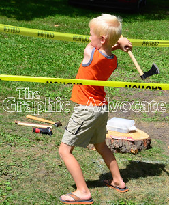 Hatchet throwing was one activity offered by the Rockwell City Boy Scouts at Saturday's Sweet Corn Daze. GRAPHIC-ADVOCATE PHOTO/ERIN SOMMERS
