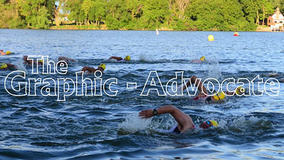 Swimmers head head to the first buoy during the Twin Lakes Triathlon Saturday morning. GRAPHIC-ADVOCATE PHOTO/ERIN SOMMERS