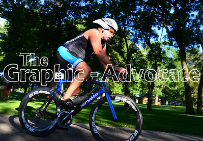 A man begins the bicyle leg of the Twin Lakes Triathlon Saturday morning. GRAPHIC-ADVOCATE PHOTO/ERIN SOMMERS