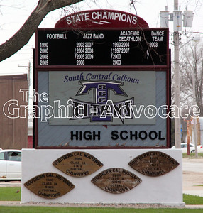 South Central Calhoun High School's school community relations group is hoping the community will pitch in to buy a new, electronic sign for the high school. GRAPHIC-ADVOCATE PHOTO/ERIN SOMMERS